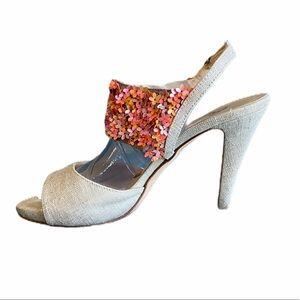 Butter Flower Sequined Heeled Sandals